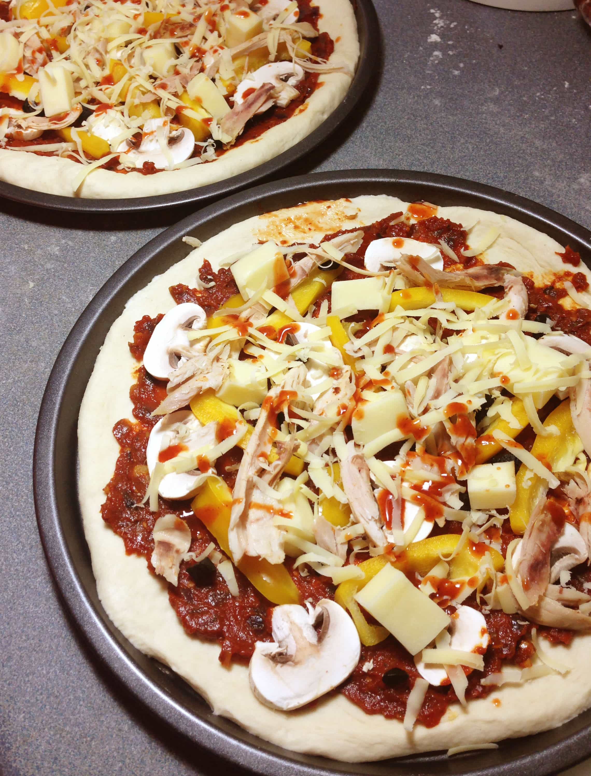 Chicken, Mushroom, Pepper and Black Garlic Pizza