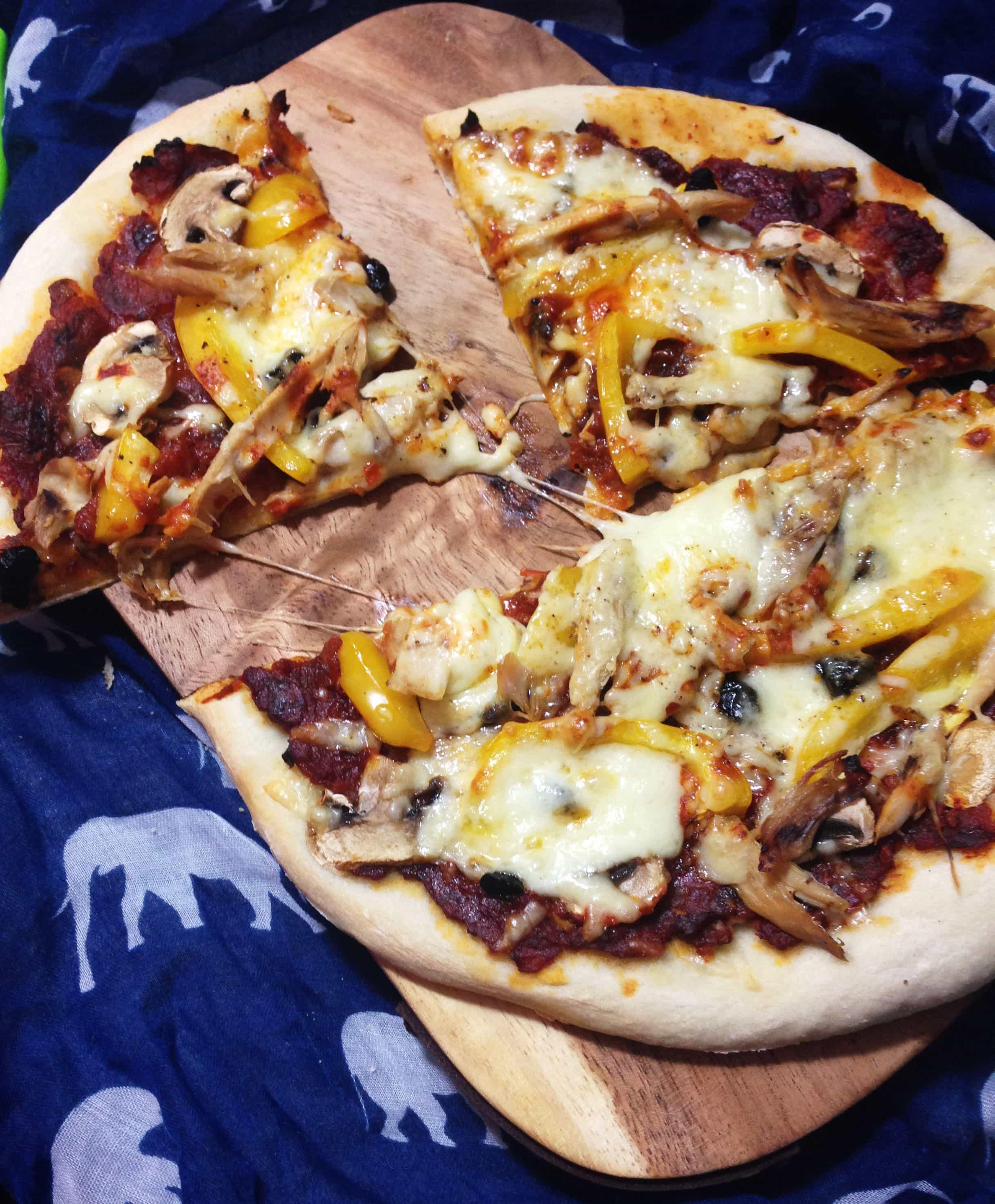 Chicken, Mushroom, Pepper and Black Garlic Pizza