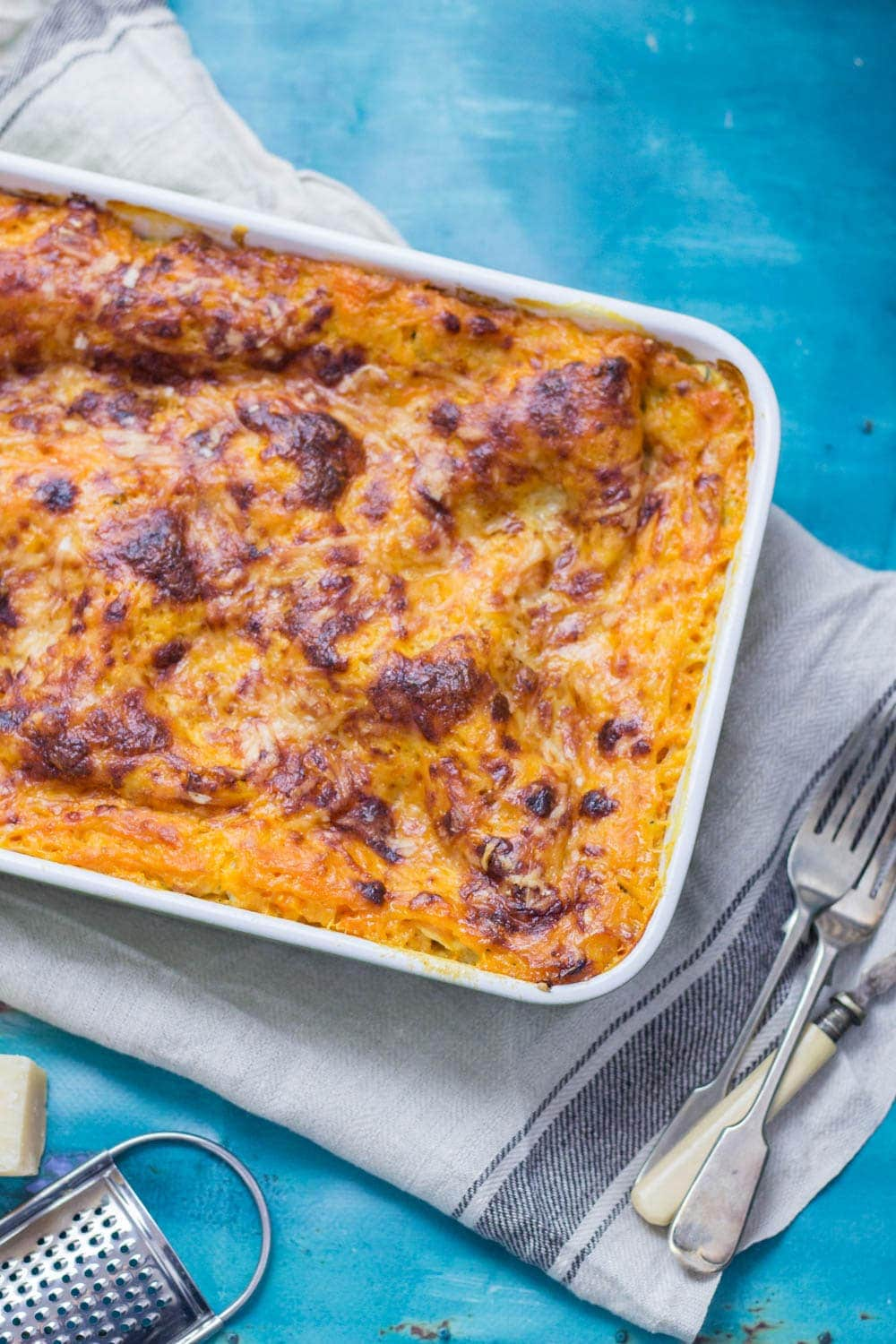 This vegetarian twist on a classic pasta dish is the perfect comfort food! This four cheese butternut squash lasagne is layered with spinach and mushrooms. #lasagne #lasagna #squash #pasta #dinner