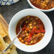 This chorizo and chickpea stew is deliciously herby and spicy. Try and cook it as long as you can, the chorizo will melt in your mouth and taste amazing!