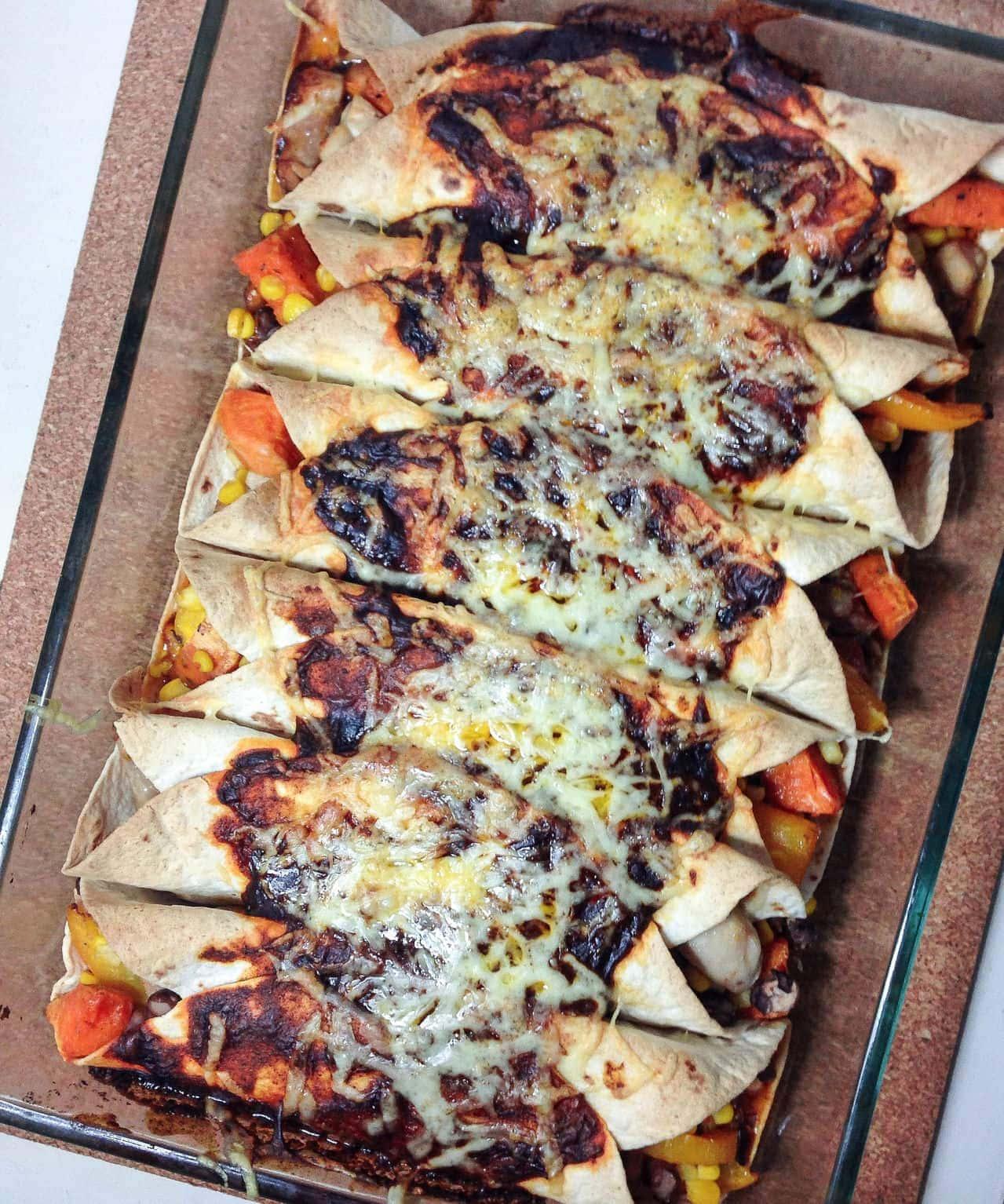 Spicy Chicken and Sweet Potato Enchiladas