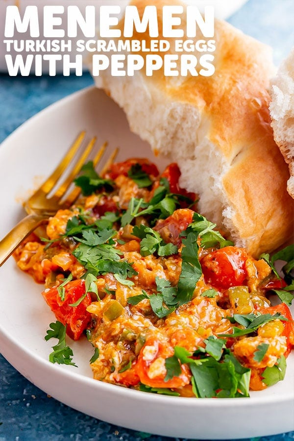 Pinterest image of menemen with text overlay