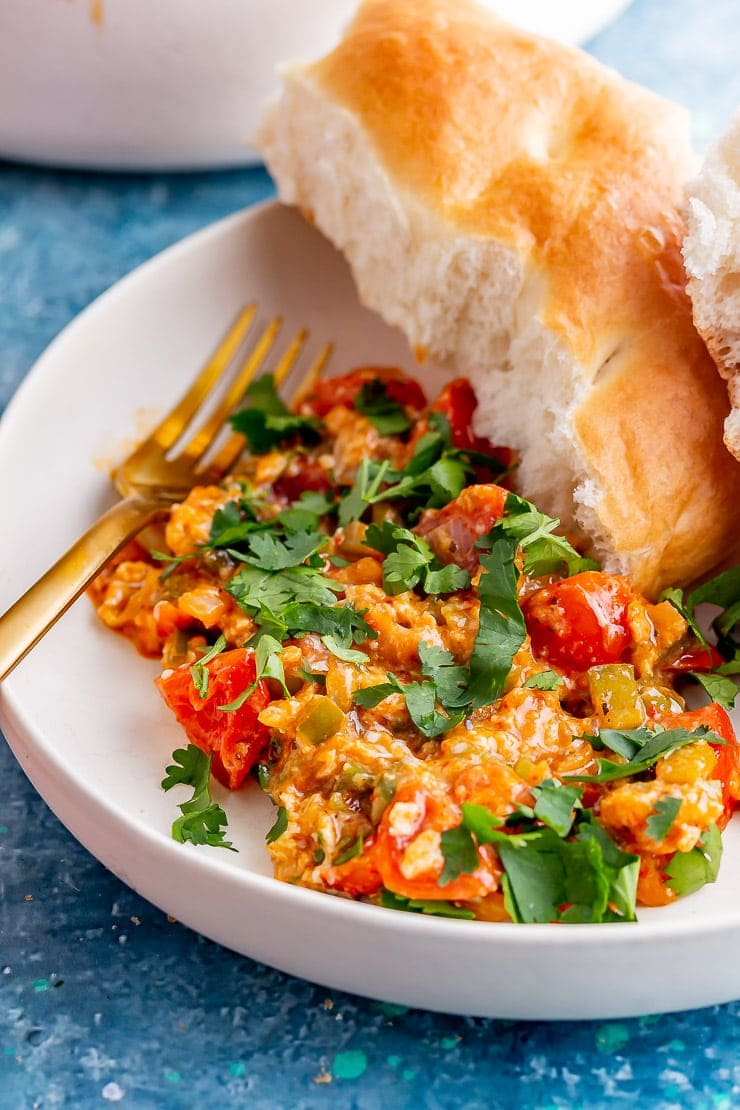 Close up of menemen with bread