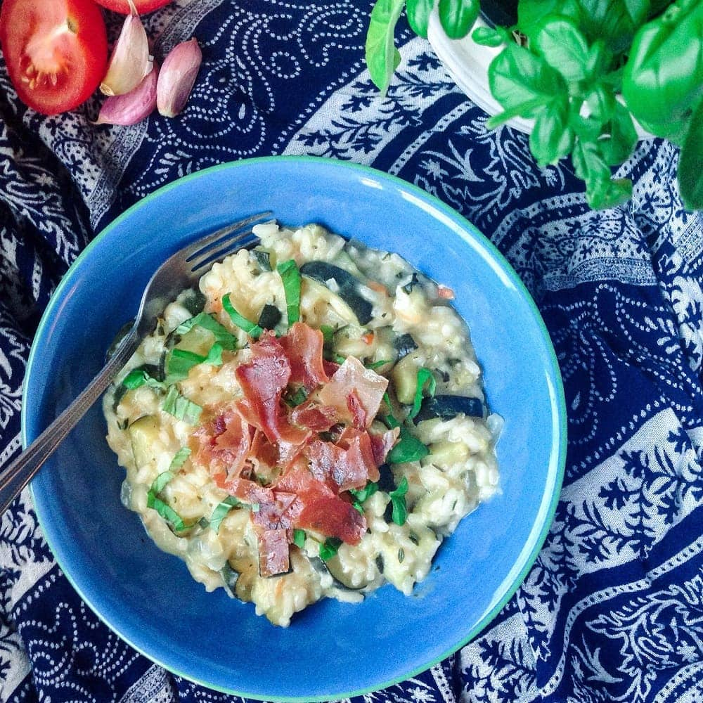 Courgette Risotto With Goat's Cheese and Prosciutto
