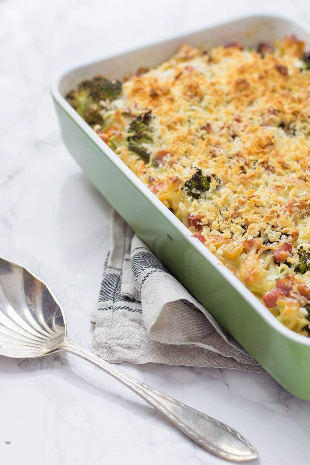 This asparagus & pancetta baked pasta is a perfect family dinner which also makes great leftovers eaten cold the next day.