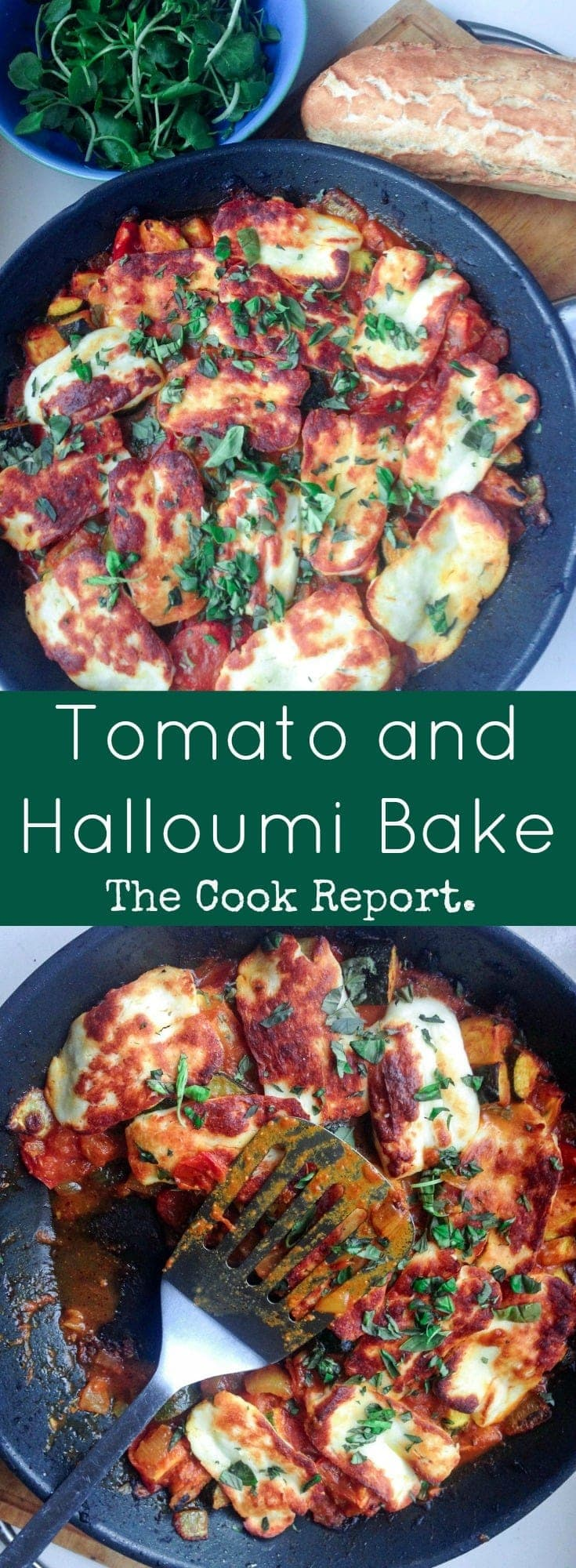 This halloumi bake perfectly combines the healthy freshness of vegetables with the chewy, salty halloumi for a delicious vegetarian dinner. #vegetarianrecipe #halloumirecipe #halloumi #recipe #thecookreport