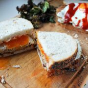 This Panko Aubergine & Egg Sandwich with kale chips is a delicious vegetarian meal which works at any time of day .