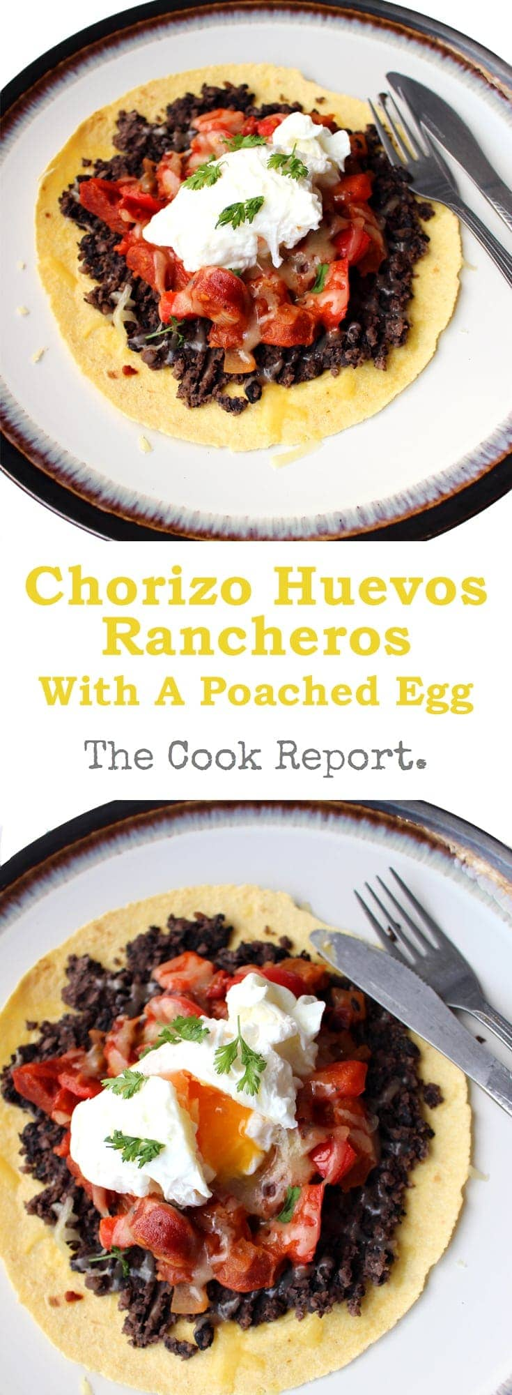 This chorizo huevos rancheros is a super easy breakfast which still feels like such a treat! It includes a super quick refried bean substitute and loads of flavour from the chorizo.