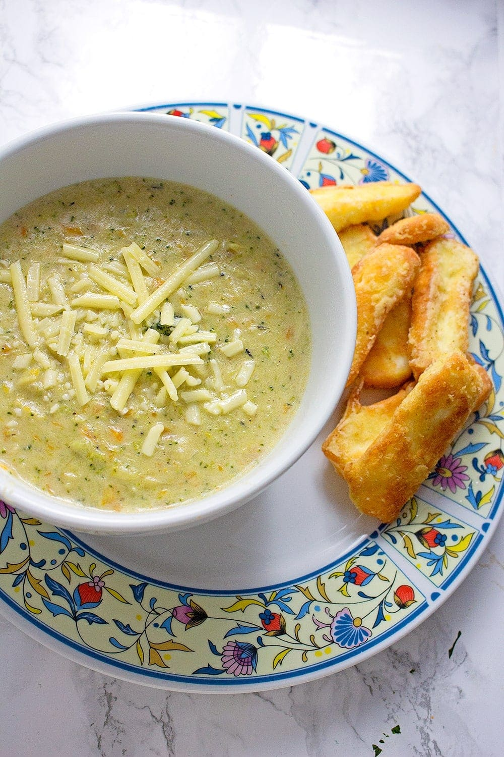 Broccoli Cheese Soup with Halloumi Fries