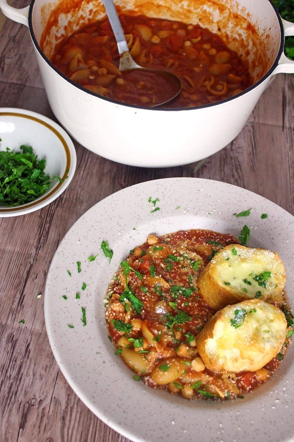 This pasta & chickpea soup is a filling dinner especially topped with these incredible cheesy toasts. Add a sprinkling of parmesan for a burst of flavour!