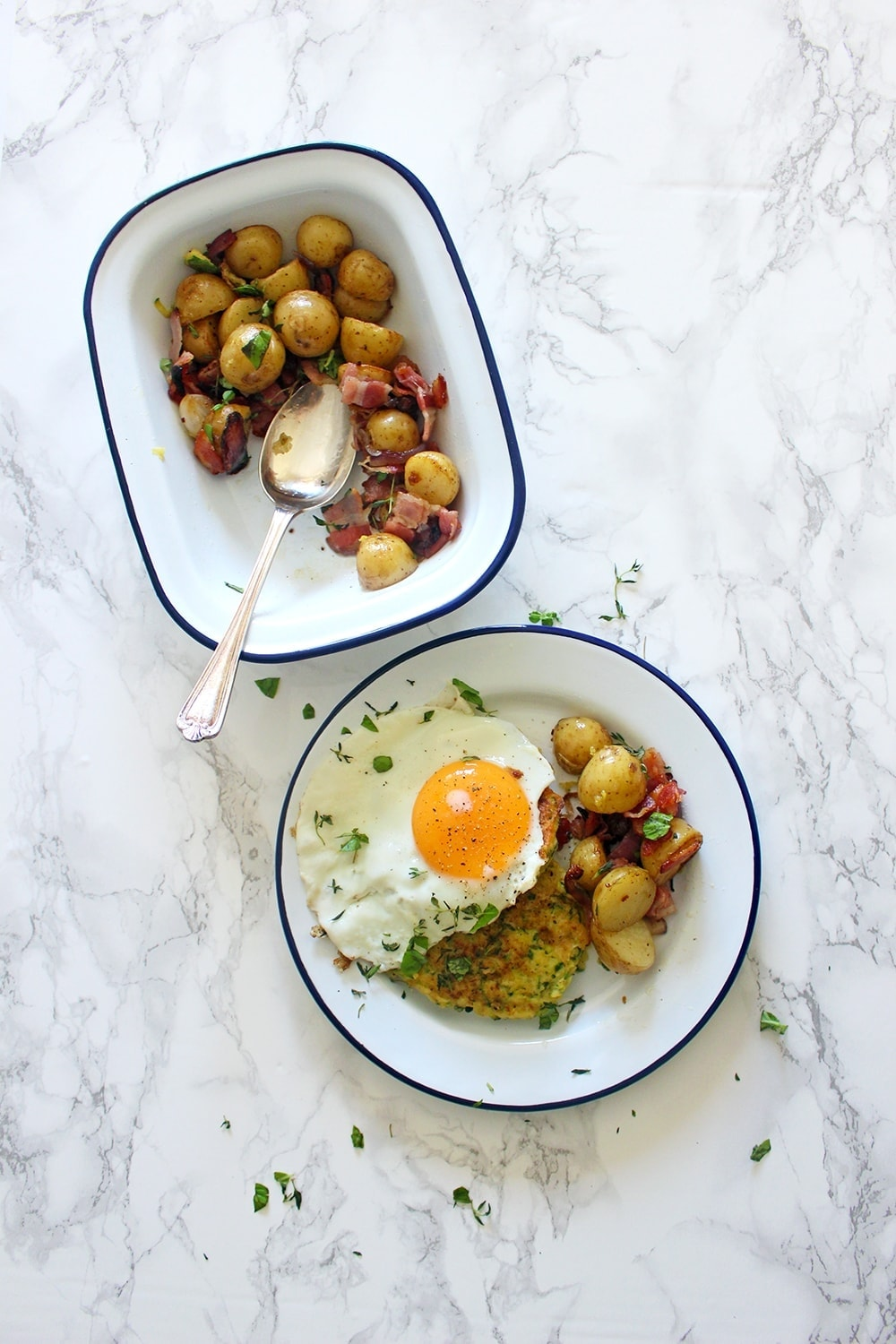 These courgette fritters get a kick from pecorino and chilli flakes. They work perfectly alongside crispy fried potato & bacon and topped with a fried egg!