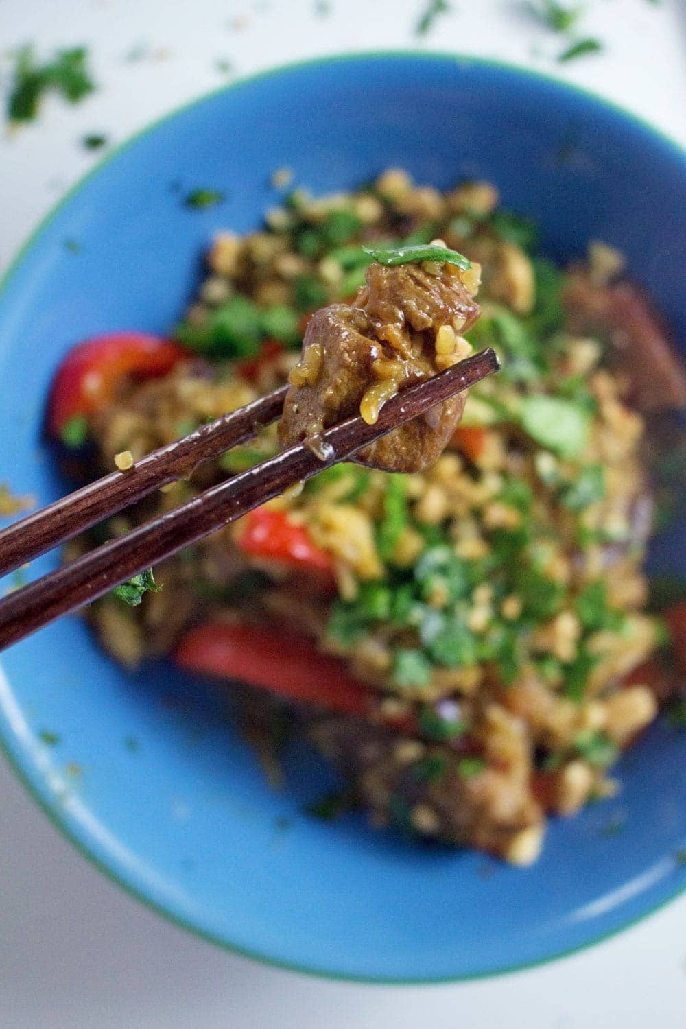 This caramelised pork stir fry is filled with crispy pork, a sweet, sticky sauce and topped with a good sprinkling of chopped peanuts.