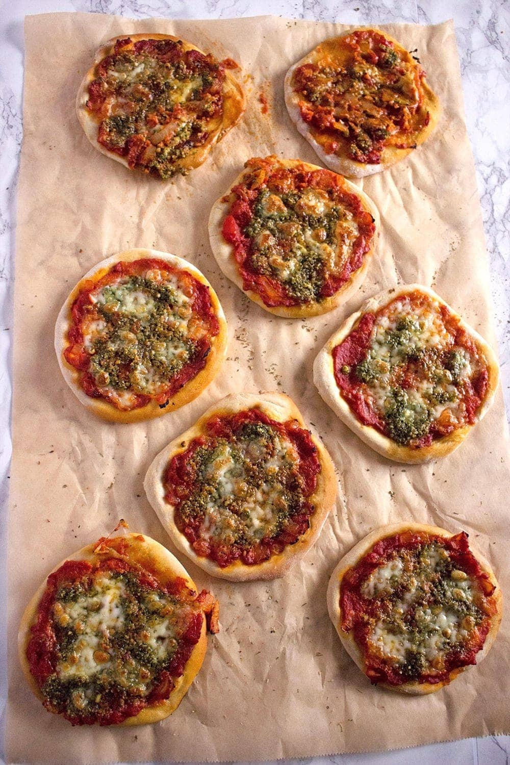 Try out these super cute mini pizzas. You could have chicken or pesto and mozzarella. Or even better, how about one of each?!