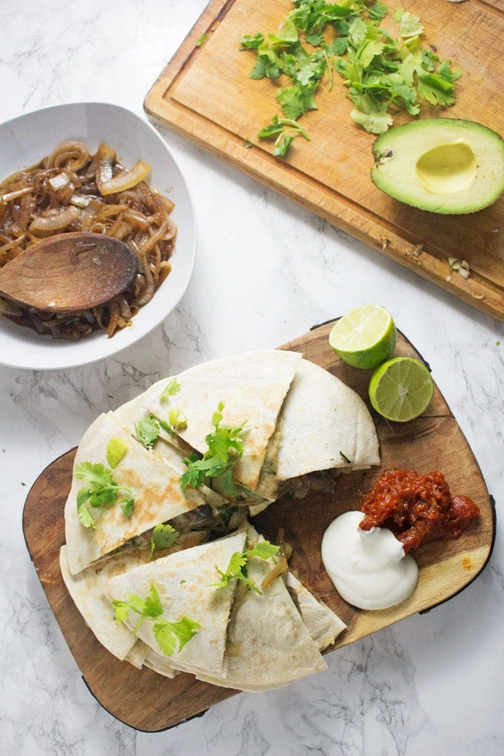 These portobello & caramelised onion quesadillas are the perfect vegetarian dinner when you're craving something full of Mexican flavour!
