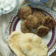 This sesame lamb recipe tastes delicious stuffed in a pita with some cucumber and mint yoghurt drizzled on top and some pin nut rice on the side.