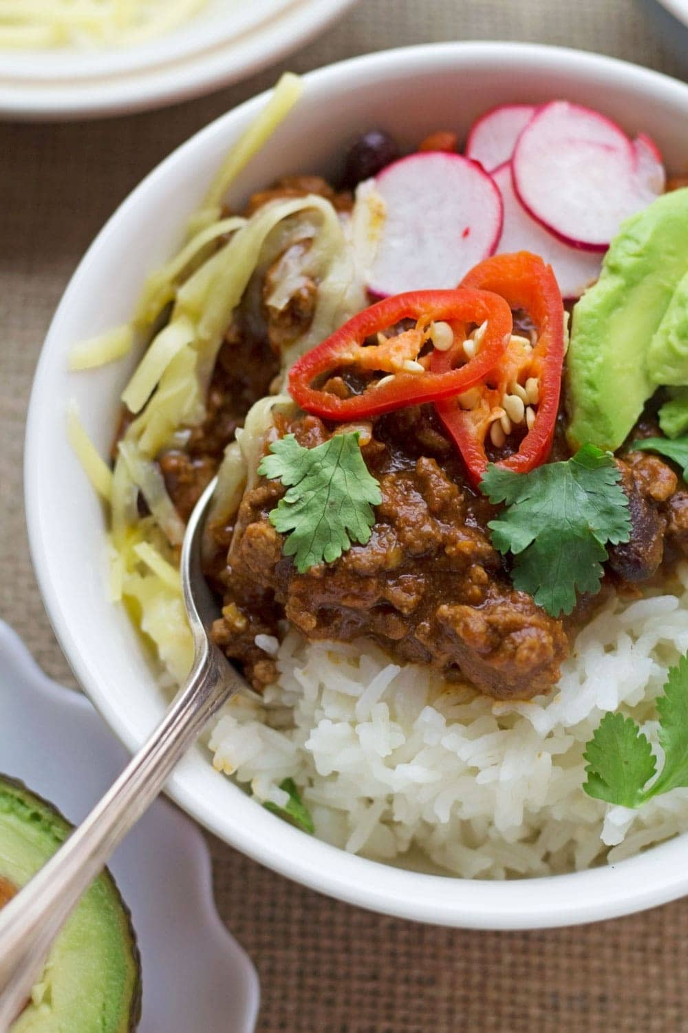 There are few things better than a classic beef chilli con carne. Make sure you don't forget the toppings, to more the better!