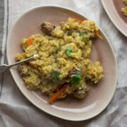 This leftover roast lamb pilaf is a great way to use up leftovers and you could easily substitute the lamb for any other cooked meat!