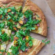 Roasted butternut squash & pancetta pizza is a tasty change from traditional pizza. The toppings are the perfect combination of sweet and salty!