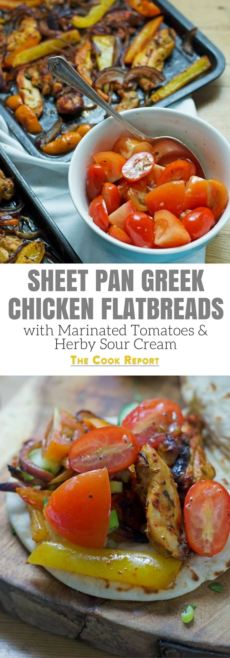 This sheet pan Greek chicken is served in a flatbread with garlicky marinated tomatoes and an incredible herby sour cream sauce!