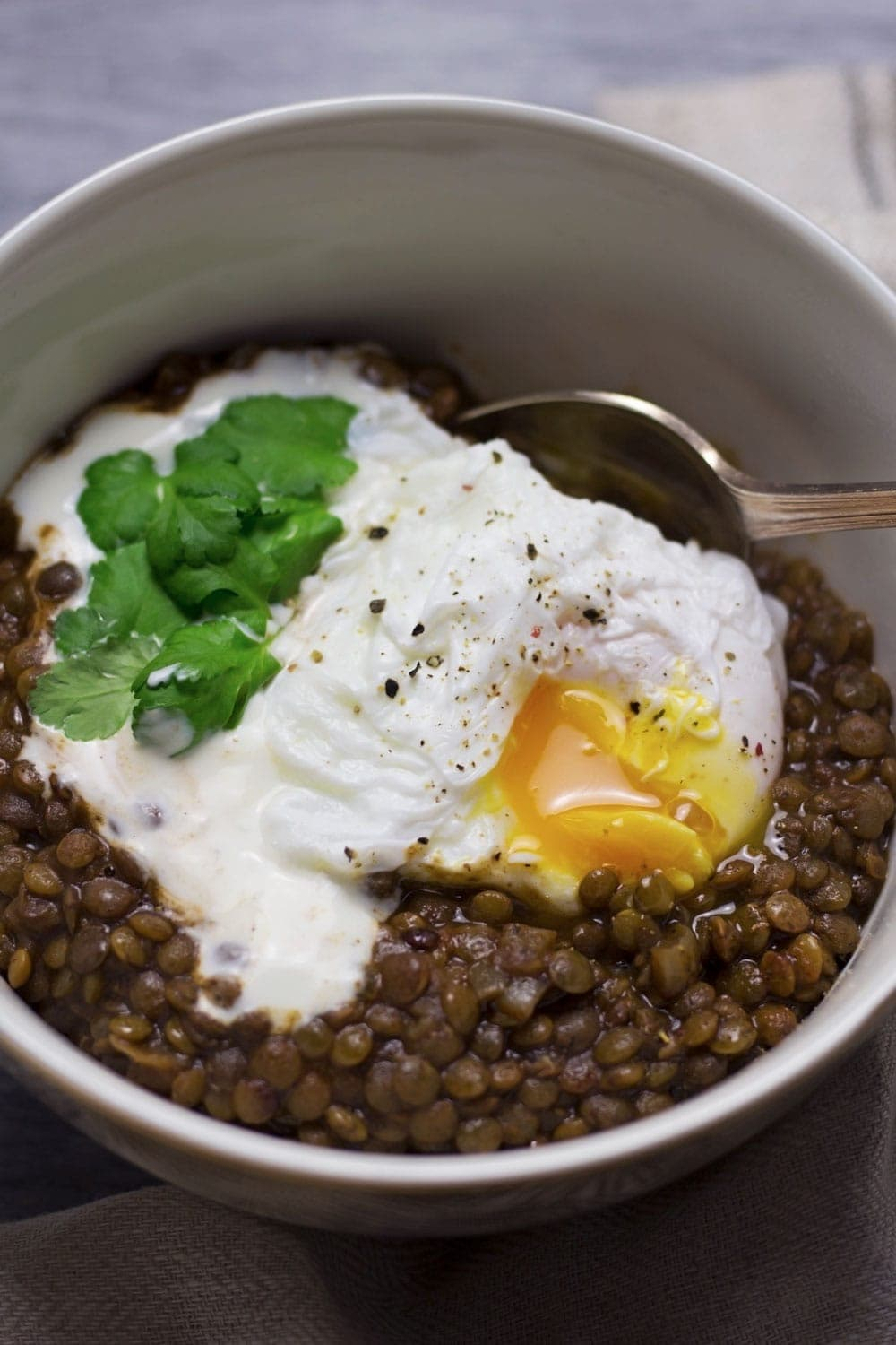 These berbere lentils are healthy, filling and delicious. With a poached egg and Greek yoghurt on top they're a complete meal!