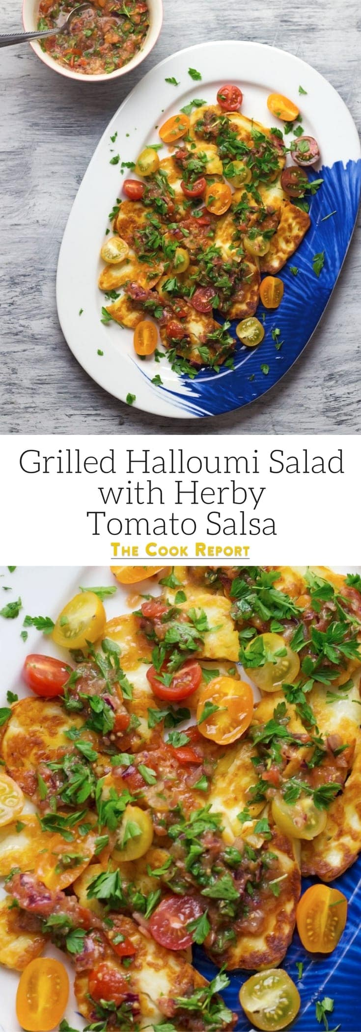 This grilled halloumi salad is topped with a beautiful herby tomato salsa. It's so easy to make and is the ultimate summer meal!