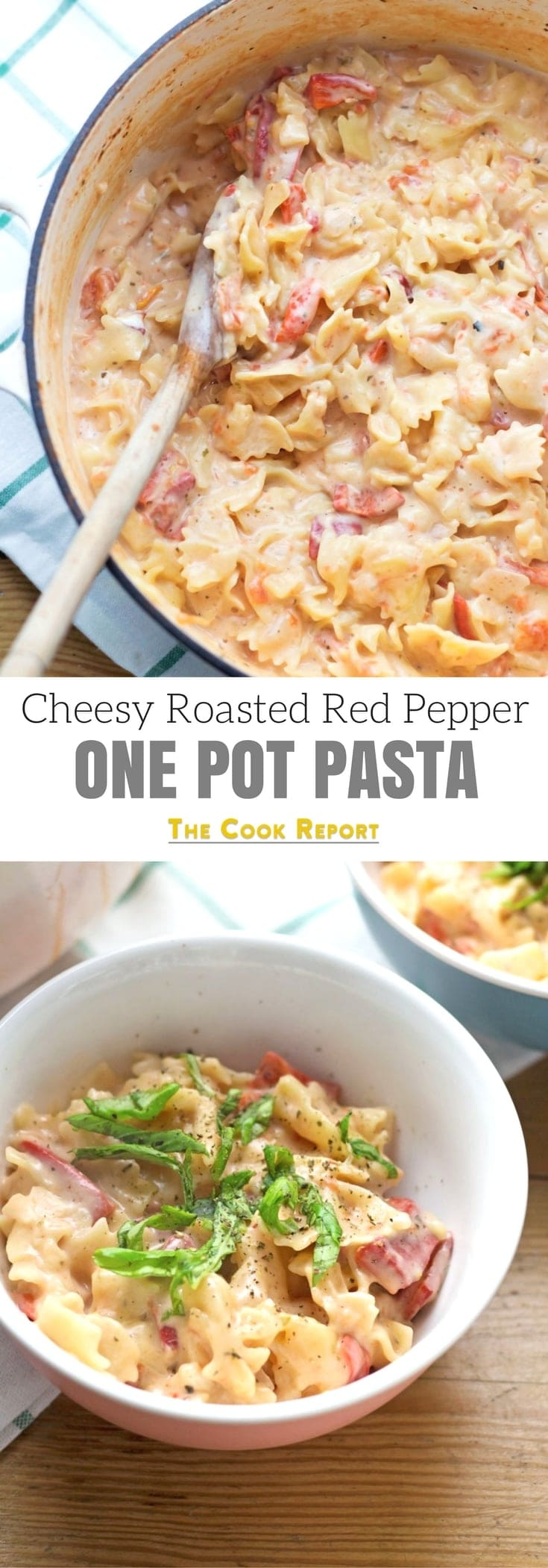 This Cheesy Roasted Red Pepper One Pot Pasta comes together in 20 minutes and is full of comforting cream cheese and the smoky flavour of roasted red peppers.