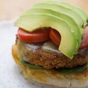 Chickpea Recipes: Avocado slices on top of chickpea veggie burgers