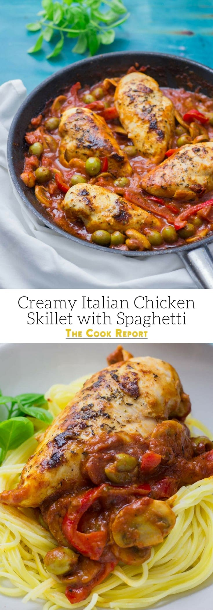 Looking for a new pasta dinner? This creamy Italian chicken skillet is the perfect thing to put over spaghetti. It's so easy and is made all in one skillet!