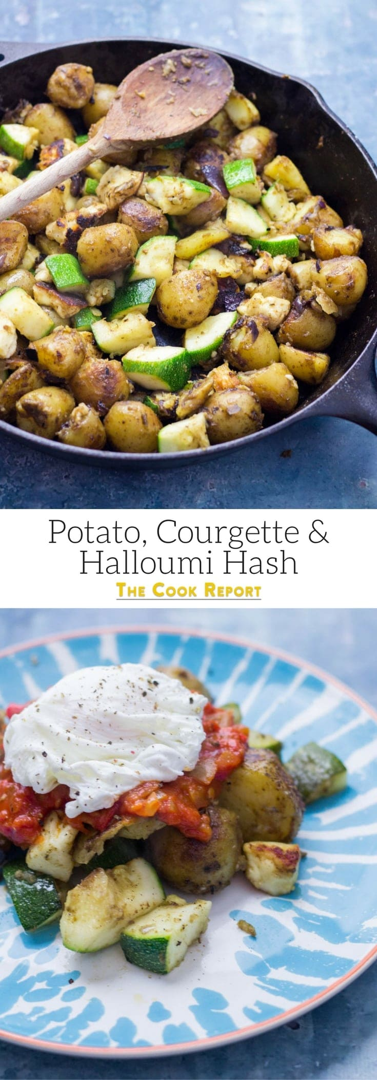I love this potato, courgette & halloumi hash for breakfast, lunch or dinner! Topped with an easy tomato sauce & a poached egg it's a guaranteed winner.