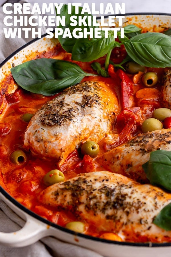 Pinterest image for Italian chicken skillet with text overlay