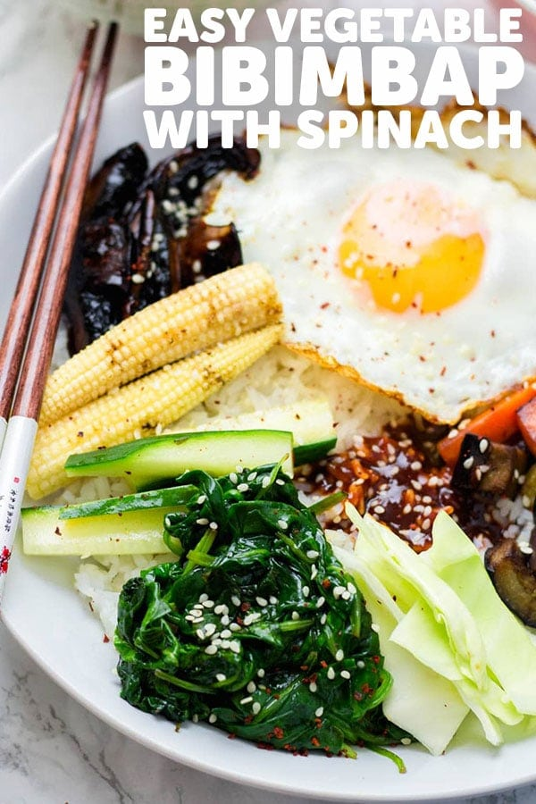Pinterest image for vegetable bibimbap with text overlay