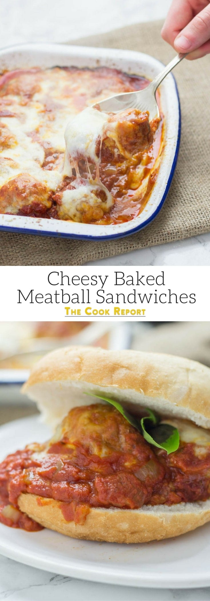 These cheesy baked meatball sandwiches are the perfect thing to feed a crowd! Serve for a party or just as a weeknight dinner the whole family will love.