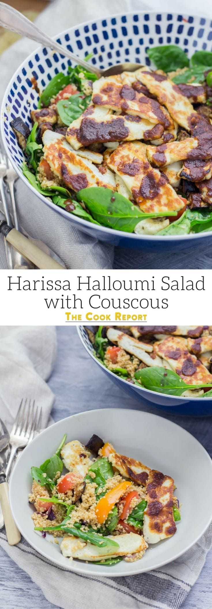 This harissa halloumi salad is so quick to make and is bursting with healthy ingredients! The salty halloumi is the perfect addition to this vegetarian dish.#vegetarian #salad #healthy #halloumi