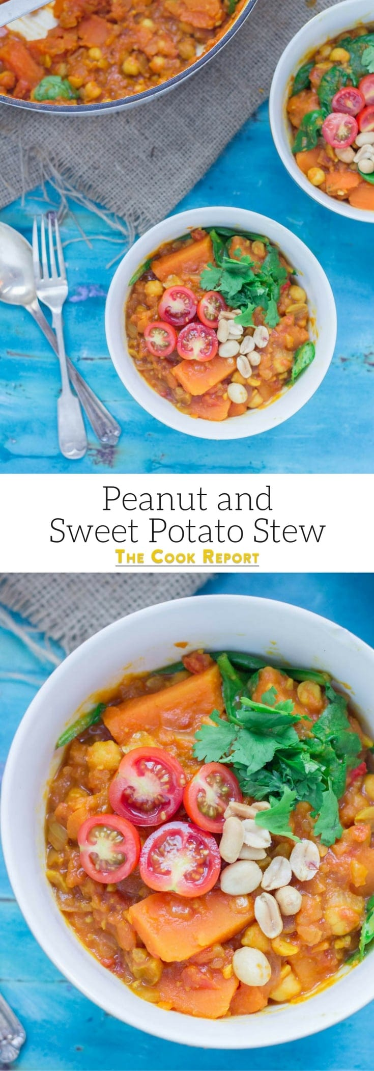 This peanut and sweet potato stew is spicy, filling and delicious. Add all your favourite toppings and serve with a healthy portion of rice or other grain. #vegetarian #comfortfood #healthy
