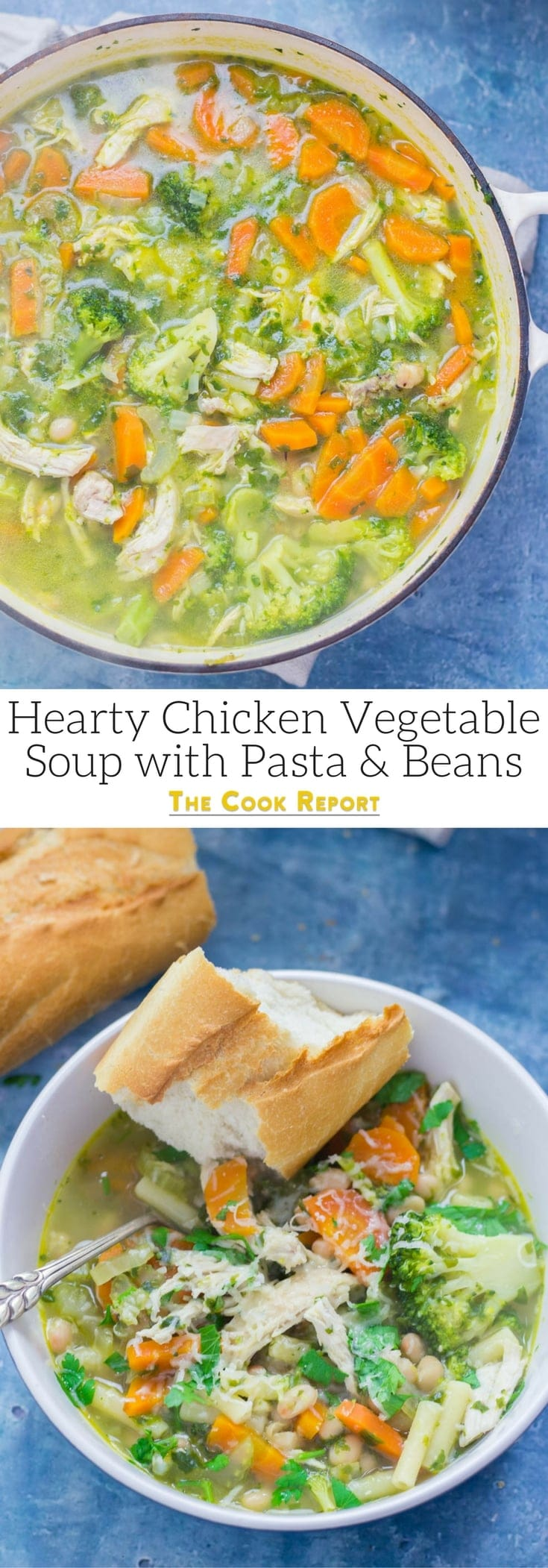 This chicken vegetable soup is a filling and tasty dinner perfect for cold evenings. Serve with some crusty bread and a sprinkling of parmesan. #soup #chicken #recipe #fallrecipes