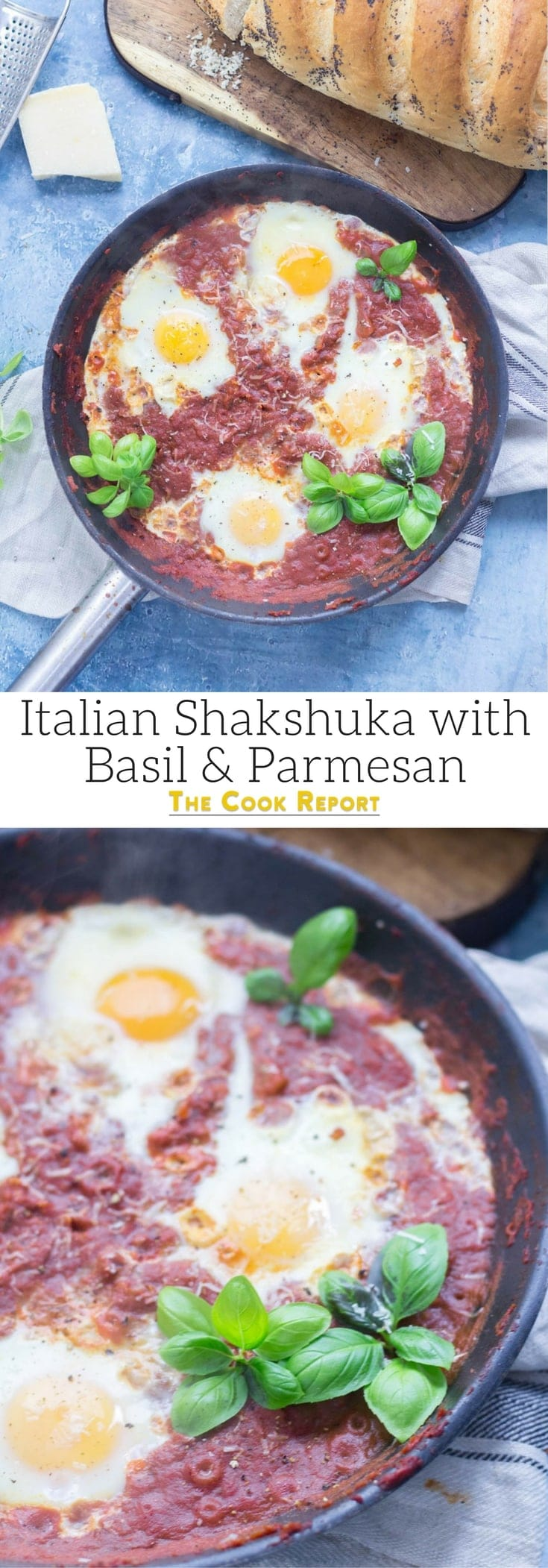 Serve up a hearty breakfast with this Italian shakshuka made with a delicious oregano tomato sauce and finished with a sprinkling of parmesan. #shakshuka #recipe #breakfast #brunch #italianfood