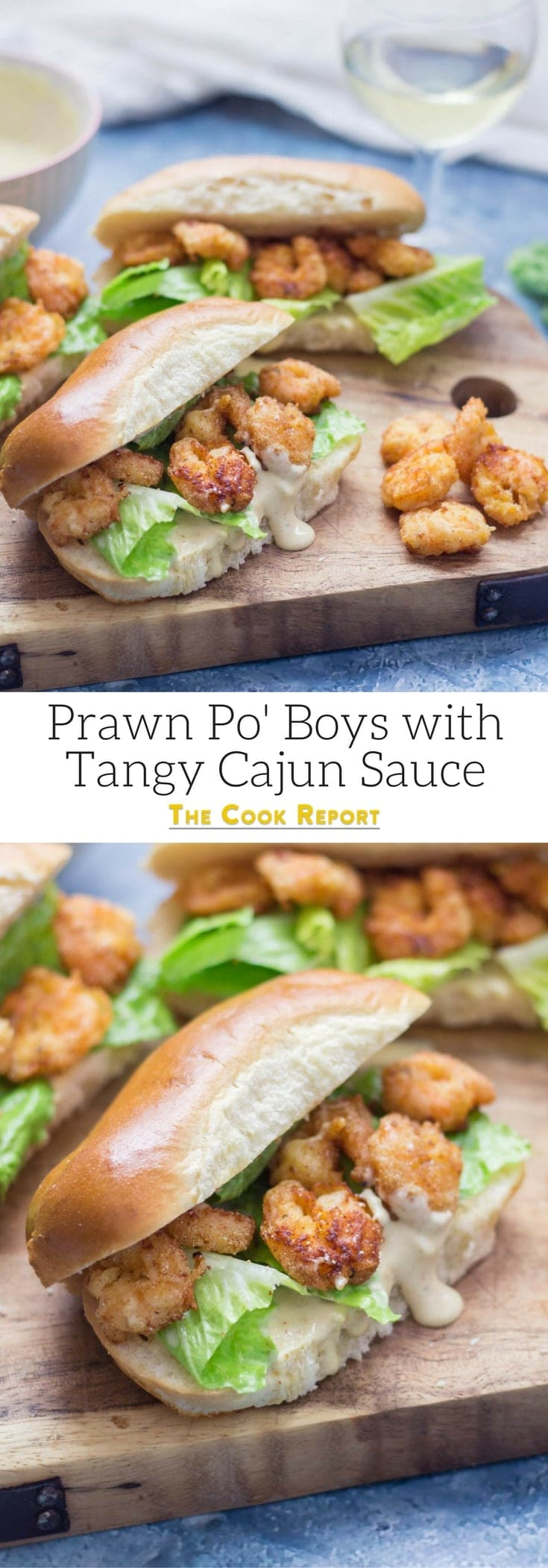 Prawn po' boys are made up of crispy prawns nestled into a bread roll with crunchy lettuce & tangy Cajun sauce. Bring a taste of New Orleans to your home! #sandwich #seafood #poboy #cajunfood #recipe
