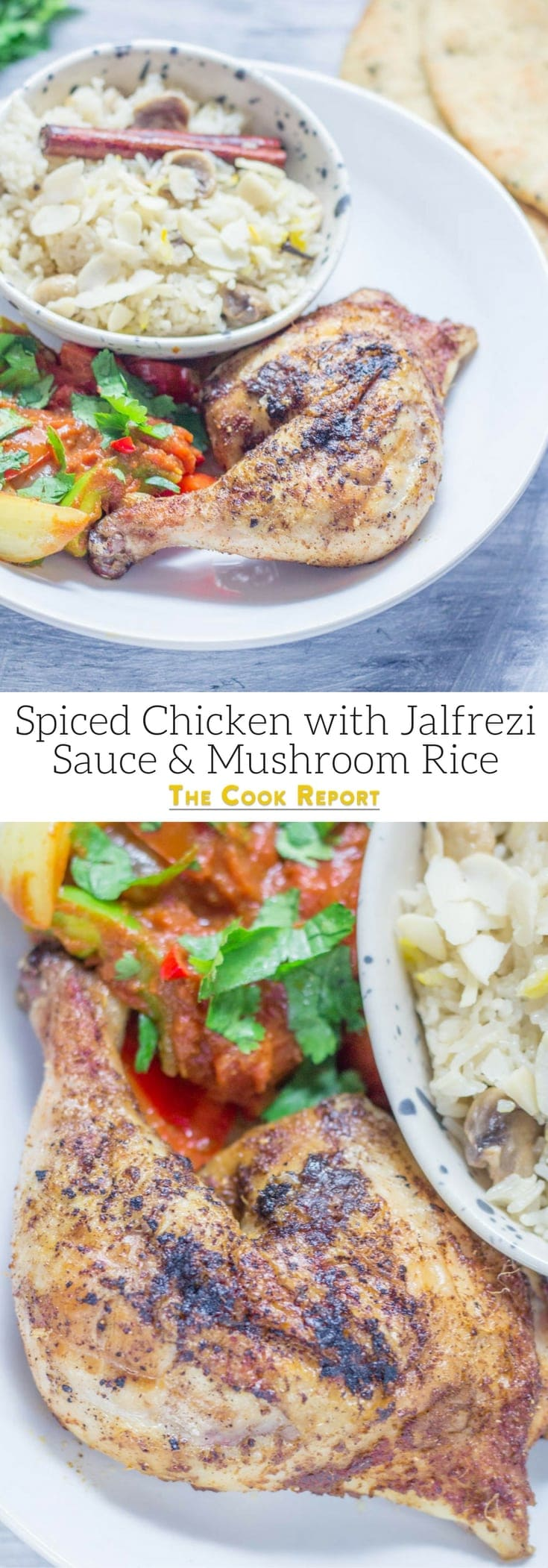 This spiced chicken is a fun way to mix up your roast dinner! Serve with a spicy jalfrezi sauce and a helping of mushroom rice to warm you up this winter. #chicken #dinner #indianfood #jalfrezi #roastdinner