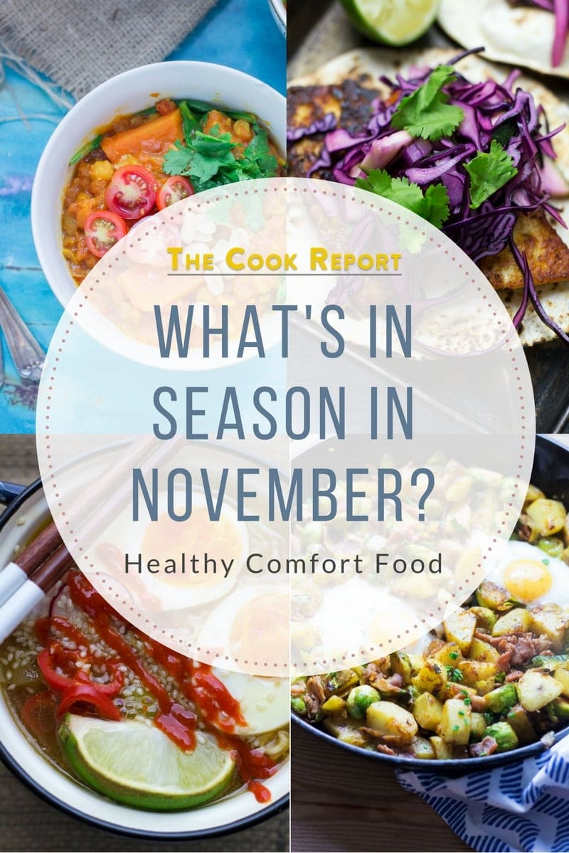 What's in season in November? A collection of healthy comfort food recipes using seasonal ingredients at their best in November! #seasonal #november #autumnrecipes #fallrecipes