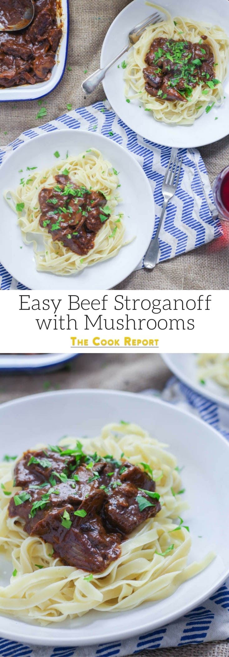 Easy Beef Stroganoff with Mushrooms. Make this easy beef stroganoff for a warming winter dinner. There's really nothing better than tender beef cooked with red wine and vegetables. #beefstroganoff #recipe #beef
