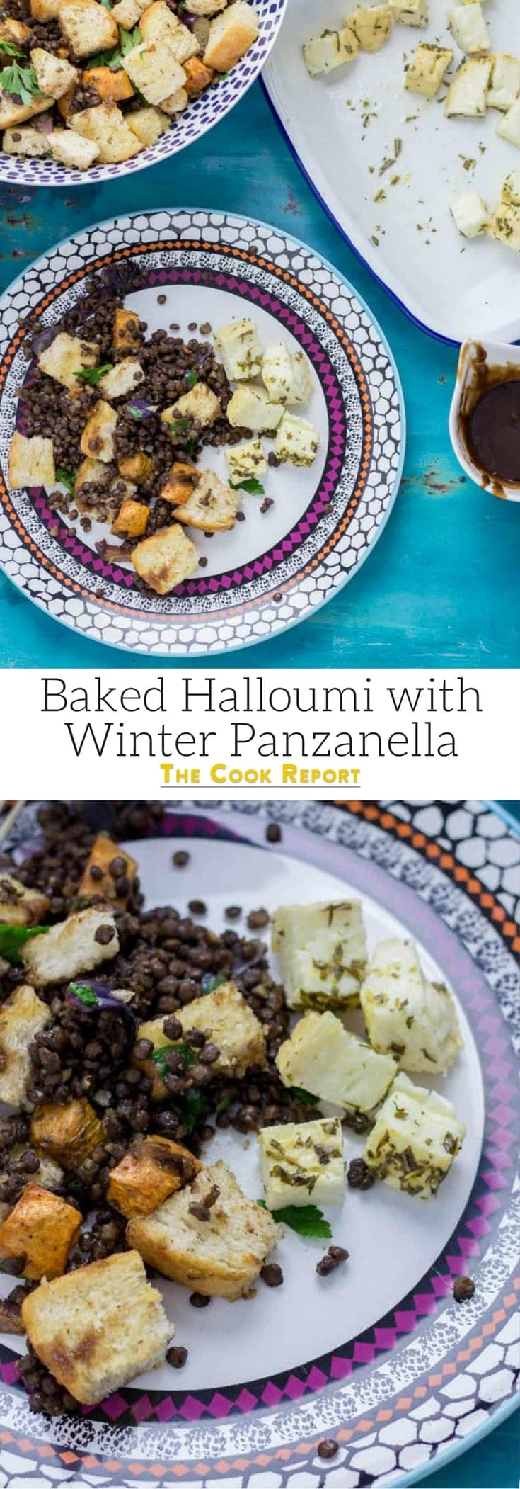 Baked Halloumi with Winter Panzanella. Halloumi is the perfect addition to a meat free meal! Bake it in the oven with loads of herbs and serve along side this filling winter panzanella style salad for your next vegetarian dinner.  #panzanella #salad #halloumi #recipe