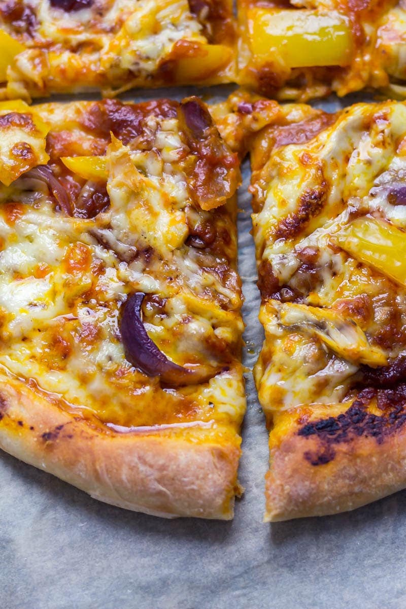 Close up of slices of stuffed crust pizza