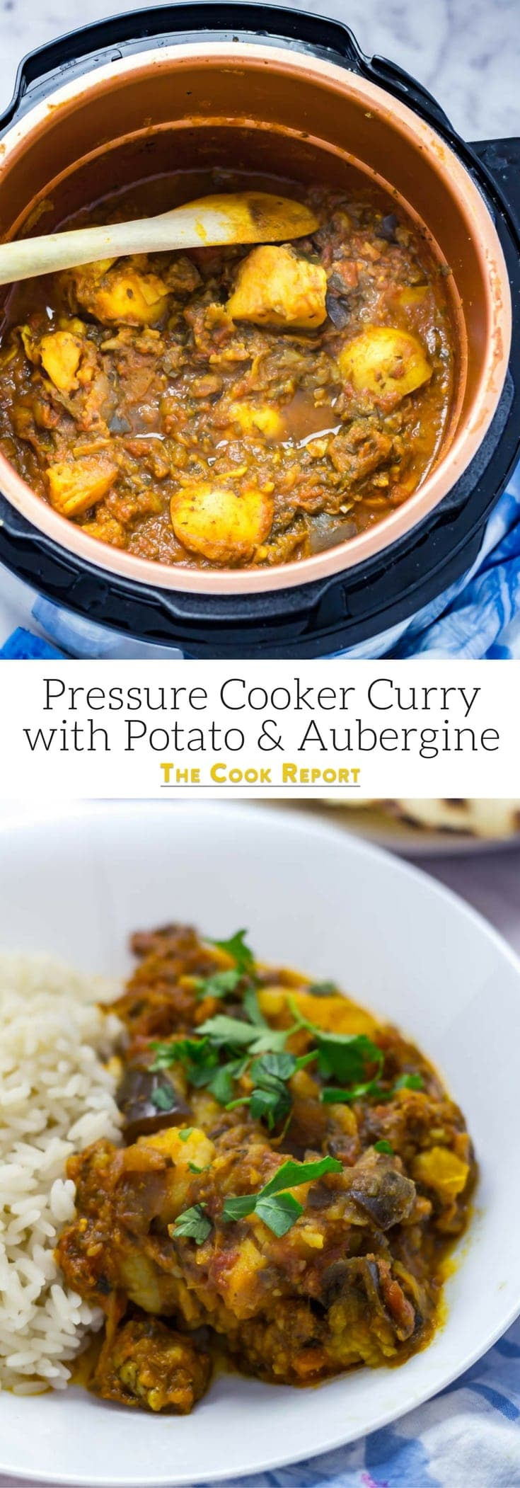 Pressure Cooker Curry with Potato & Aubergine. You won't believe how quick and easy this pressure cooker curry is! It's perfect for an instant pot or any electric pressure cooker. Serve with rice for a healthy vegetarian dinner. #pressurecooker #instantpot #vegetarian #curry