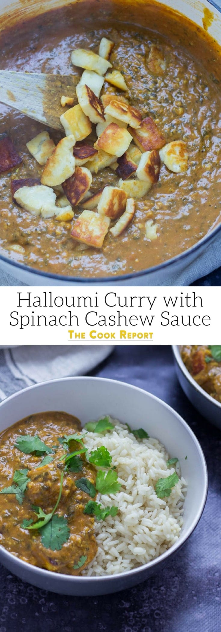 Halloumi Curry with Spinach Cashew Sauce. This super creamy curry sauce works perfectly with the salty halloumi. With hidden veggies from the spinach in the sauce this halloumi curry is a healthy vegetarian dinner that works for weeknight or a special occasion! #halloumi #vegetarian #recipe #curry #indianfood