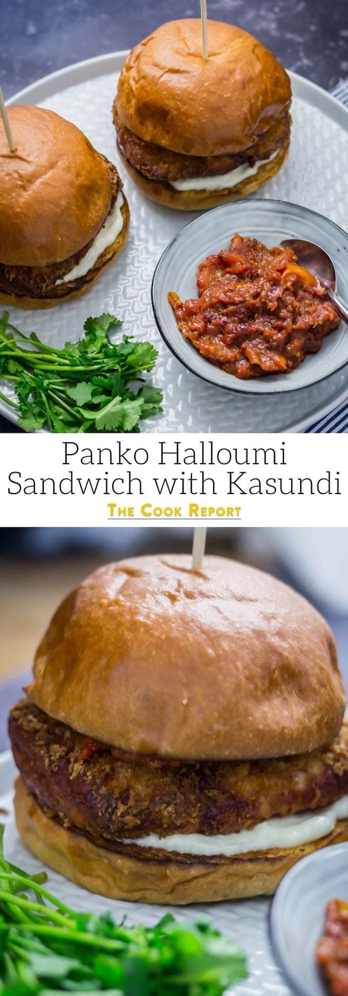 Panko Halloumi Sandwich with Kasundi. This halloumi sandwich is the perfect combination of crunchy and chewy. The sweet and spicy kasundi tastes amazing with the panko coated cheese for a filling vegetarian meal. #vegetarian #halloumi #sandwich #recipe #halloumisandwich