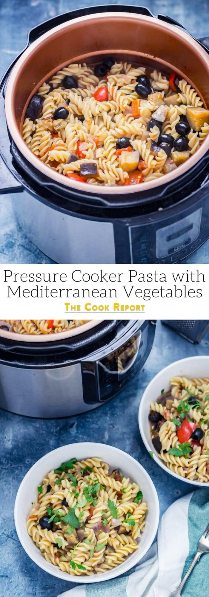 This pressure cooker pasta is so simple and is full of mediterranean flavour! Make it in an instant pot or electric pressure cooker and have dinner on the table in a matter of minutes. #pressurecooker #instantpot #onepotpasta #mediterraneanpasta #mediterraneanvegetables