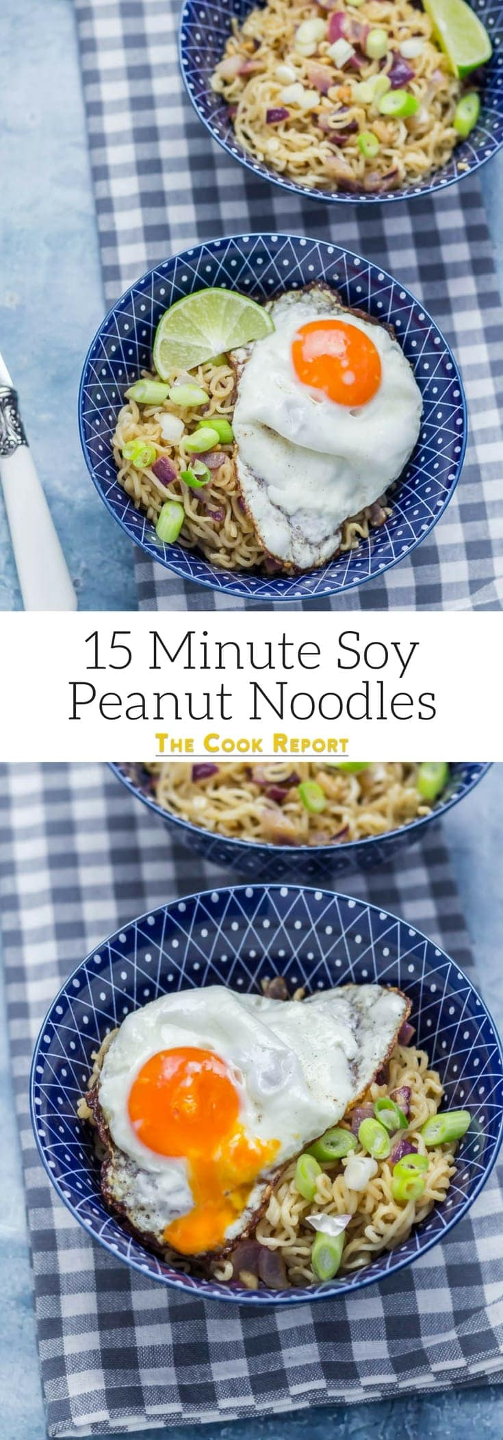 15 Minute Soy Peanut Noodles. These soy peanut noodles are ridiculously easy to make and are on the table in 15 minutes! Even better, you'll probably already have most of the ingredients on hand. #noodles #recipe #asianfood #peanutnoodles
