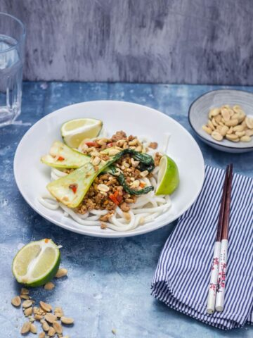 Udon Noodle Stir Fry topped with pak choi on a white bowl with a striped napkin, chopsticks and a bowl of peanuts on the side