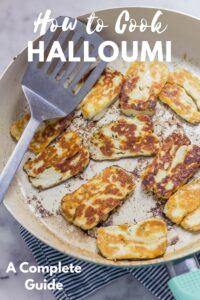Cooked halloumi in a pan with text overlay
