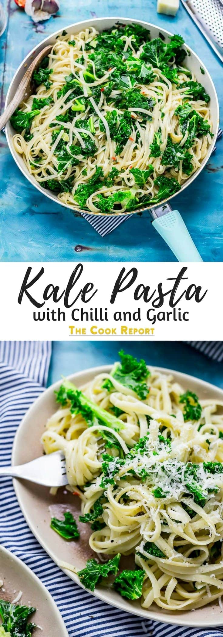 This super simple kale pasta recipe with heaps of chilli and garlic is the perfect weeknight meal. Have dinner on the table in the time it takes to boil some pasta! #pasta #kale #chilli #garlic #weeknightdinner #easydinner #thecookreport